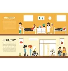 Treatment Healthy Life flat hospital interior vector image
