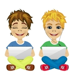 two young gamers sitting on the floor using laptop vector image
