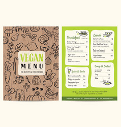 vegan restaurant menu green organic food board vector image
