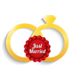 Wedding gold rings Just married label vector image