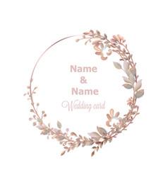 Wedding wreath watercolor save date pink vector