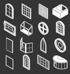 Window forms icons set grey vector