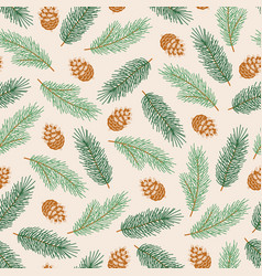 winter seamless pattern with pinecones and fir vector image