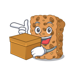 With box granola bar character cartoon vector