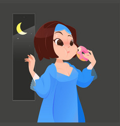 Woman in blue nightgown eating donut in kitchen vector