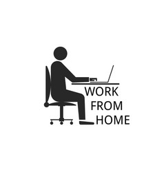 Work from home concept silhouette a man vector