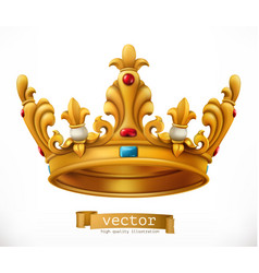 gold crown king icon vector image