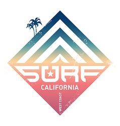 Surfing vintage label California west coast vector image