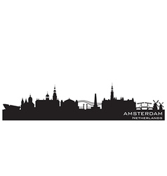 Amsterdam Netherlands skyline Detailed silhouette vector image vector image