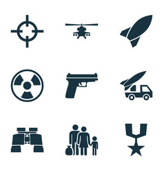 army icons set collection of ordnance dangerous vector image