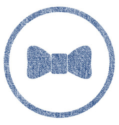 bow tie rounded fabric textured icon vector image