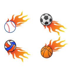 color fire ball logo icons vector image
