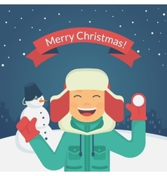 Happy boy playing outdoors with snow vector image vector image