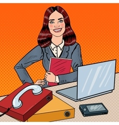 Pop Art Business Woman at Office Work with Laptop vector image vector image