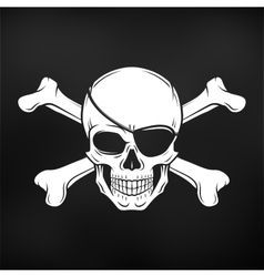 Jolly Roger with eyepatch and crossbones logo vector image vector image