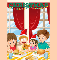 Scene with family having meal on christmas vector