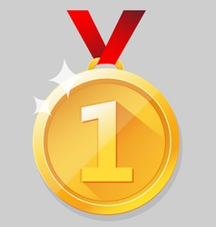 Shining gold medal vector image vector image