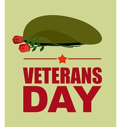 Soldiers green beret and flowers Veterans Day vector image