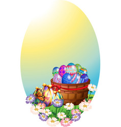 Background template with easter eggs in basket vector