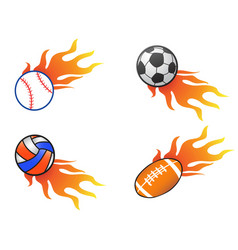 color fire ball icons set vector image