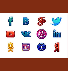 colored icons social media buttons set vector image