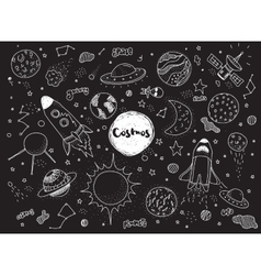 Cosmic objects set Hand drawn doodles vector image