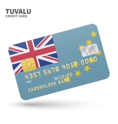 Credit card with Tuvalu flag background for bank vector image vector image