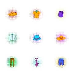 Outfits icons set pop-art style vector image