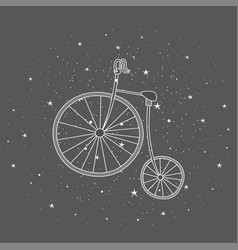 retro bicycle with large front wheel painted in vector image