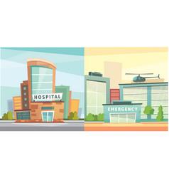 set hospital building cartoon modern vector image vector image