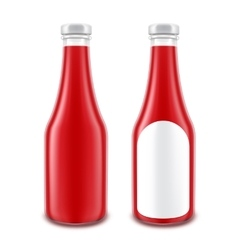 Set of Ketchup Bottle without with Round Label vector image