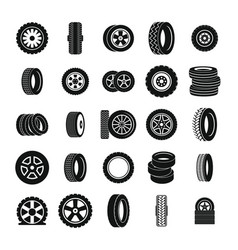 tire icons set simple style vector image