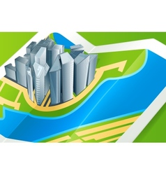 Town on the map vector image vector image