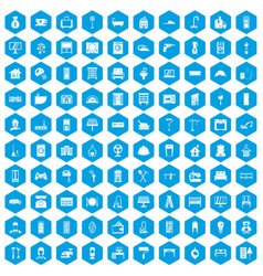 100 comfortable house icons set blue vector image
