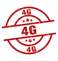 4g round red grunge stamp vector