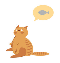 adorable cat is waiting for food vector image