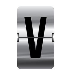Alphabet silver flipboard letters v vector