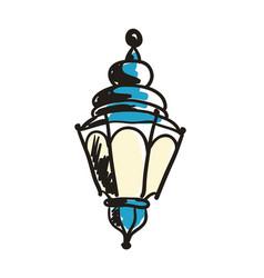 ancient lantern hand drawn icon vector image