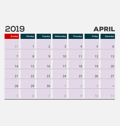 april 2019 calendar planner design template vector image