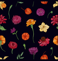 autumn floral seamless pattern on black vector image