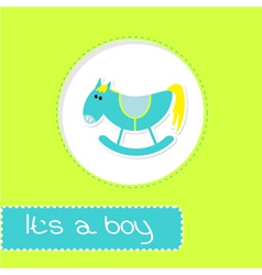 Baby boy shower card with cute horse vector