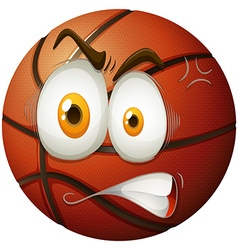 Basketball with angry face vector