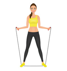 beautiful fitness woman posingn with jumping rope vector image