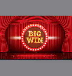 Big win neon banner with red curtain vector