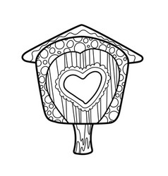 bird house coloring ornament on white background vector image