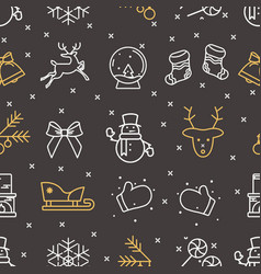 black seamless pattern from new year icons vector image