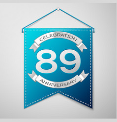 Blue pennant with inscription eighty nine years vector