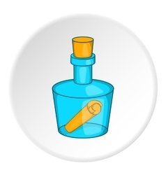 Bottle with letter icon cartoon style vector