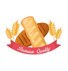 Bread premium quality wheat nutrition food vector