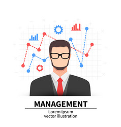 business management flat man with icons vector image